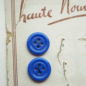 ブルー四つ穴ガラスボタン