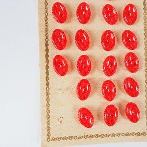 オーバルクリアボタンS(レッド)