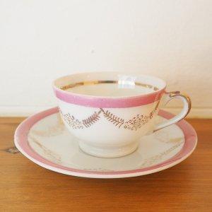 ピンクの縁取りミニチュアカップ&ソーサー