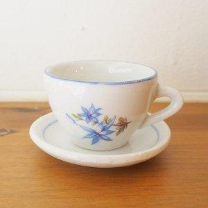 ブルーの縁取りミニチュアカップ&ソーサー M(a)
