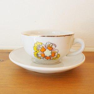オレンジxイエロー花柄ミニチュアカップ&ソーサー