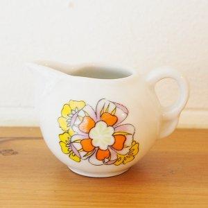 オレンジxイエロー花柄ミニチュアミルクジャグ