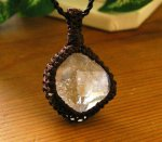 ハーキマーダイヤモンド(水晶原石) マクラメ編みペンダント &ネックレス