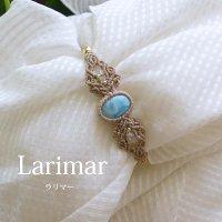 ラリマー マクラメブレスレット カリブ海の宝石(天然石アクセサリー・レディース用)