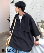 <img class='new_mark_img1' src='https://img.shop-pro.jp/img/new/icons1.gif' style='border:none;display:inline;margin:0px;padding:0px;width:auto;' />【neos/ネオス】ルーズシルエット チェック ハーフジップ アノラック パーカー