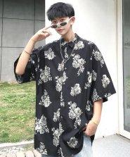 【neos/ネオス】日本製 ビッグシルエット ドルマン ダークフラワー 半袖シャツ