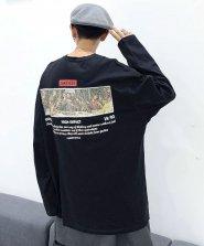 【neos/ネオス】ビッグシルエット リバーシブル加工 変色 スパンコール LAST SUPPER Tシャツ●
