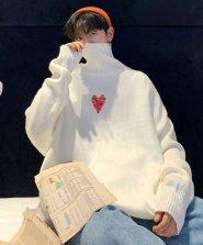 【neos/ネオス】ルーズシルエット ハート刺繍 タートルネック ニット セーター