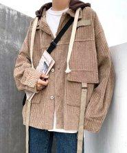 【neos /ネオス】ルーズシルエット フード付き コーデュロイ ビッグポケット シャツ ジャケット●