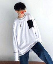 【neos/ネオス】ルーズシルエット ポケット 配色 切替 ステッチ ロングスリーブ Tシャツ●