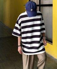 【neos/ネオス】ビッグシルエット 太ピッチ ボーダー クルーネック Tシャツ●