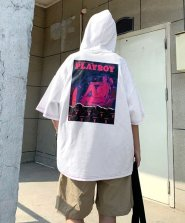 【neos -sellect design-】PLAYBOY プレイボーイ ルーズシルエット フォト 配色ステッチ バックプリント パーカー●