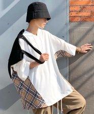 【neos -addictive design-】ビッグシルエット ドロップショルダー ドローコード チェック 切替 Tシャツ パーカー●