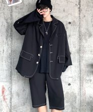 <img class='new_mark_img1' src='https://img.shop-pro.jp/img/new/icons61.gif' style='border:none;display:inline;margin:0px;padding:0px;width:auto;' />【neos -addictive design-】ルーズシルエット 配色 ステッチ テーラード ジャケット ショートパンツ セットアップ●