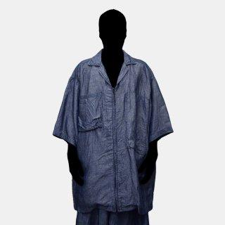yoko sakamoto<br>W POCKET ZIP SHIRT (BLUE)