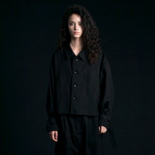 my beautiful landlet<br>cotton linen short blouson (BLACK)