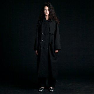my beautiful landlet<br>cotton linen big trench (BLACK)