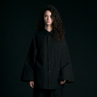 my beautiful landlet<br>cotton linen big shirt (BLACK)