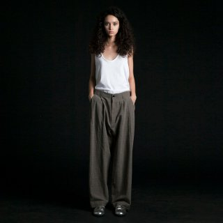 my beautiful landlet<br>cotton linen wide pants (CHECK)
