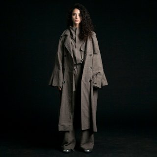 my beautiful landlet<br>cotton linen big trench (CHECK)