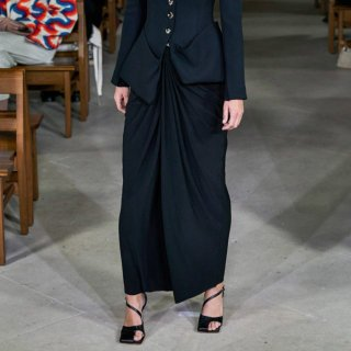 A.W.A.K.E  MODE<br>HIGH WAISTED SKIRT <br>WITH KNOT DRAPE IN FRONT AND IN THE BACK