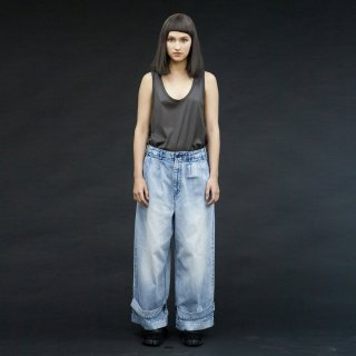 my beautiful landlet<br>denim tuck wide pants (PLANE)