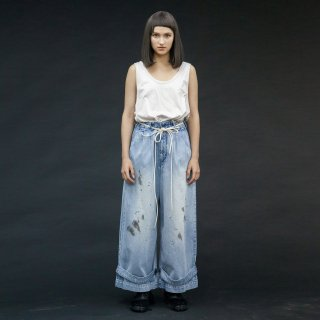 my beautiful landlet<br>denim tuck wide pants (PAINT)