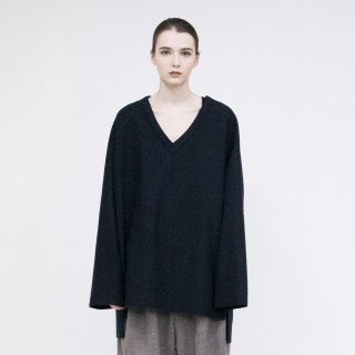 VOAAOV<br>Wool Ring Jersey V-neck tops