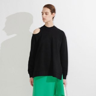 A.W.A.K.E  MODE<br>CROPPED SWEATSHIRT W/ SHOULDER-BLACK<img class='new_mark_img2' src='https://img.shop-pro.jp/img/new/icons2.gif' style='border:none;display:inline;margin:0px;padding:0px;width:auto;' />