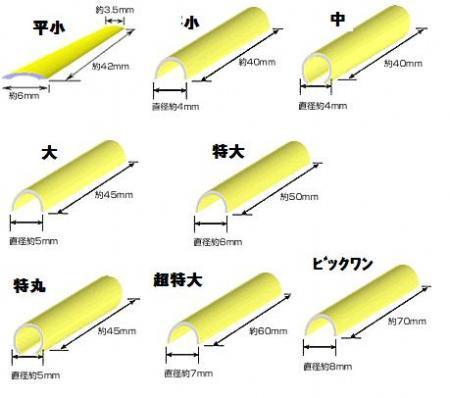 まつげパーマ用ゴムロット 全8種類 半円タイプ