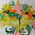 布地(白地・端に緑のライン/大きなフルーツと花のバスケット)