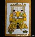 タペストリー/棚隠し 白地/黄色枠 編み物をする女性たちと黒猫 Ulla Scheuer