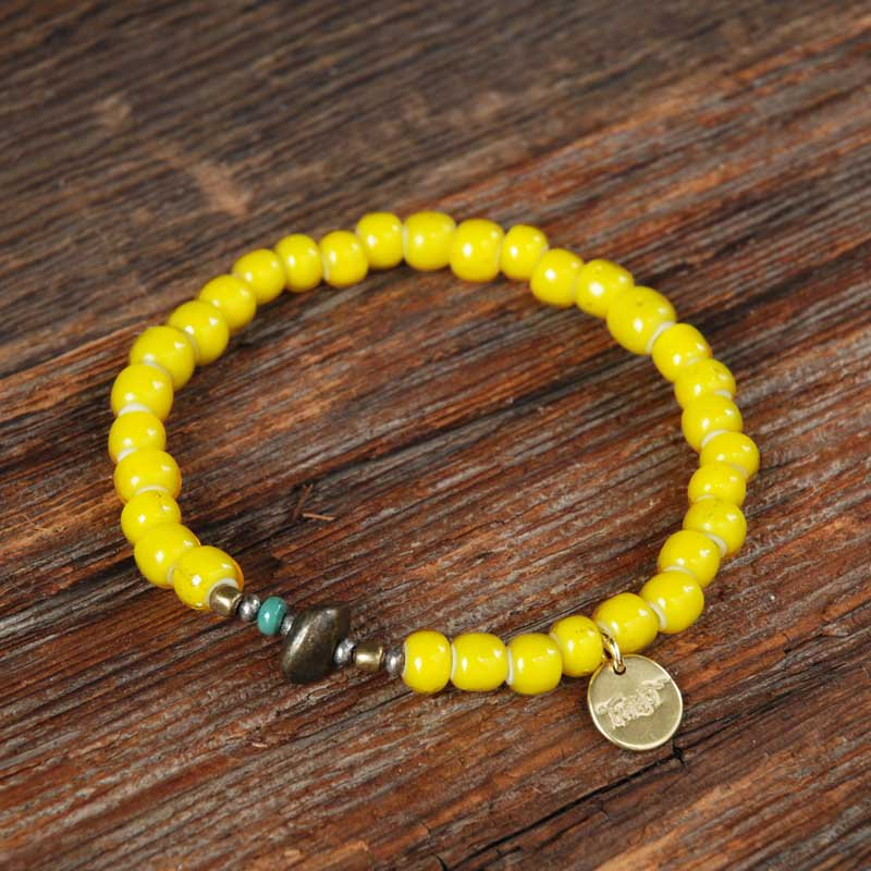 SunKu×EVILACT Antique Beads Bracelet / Yellow