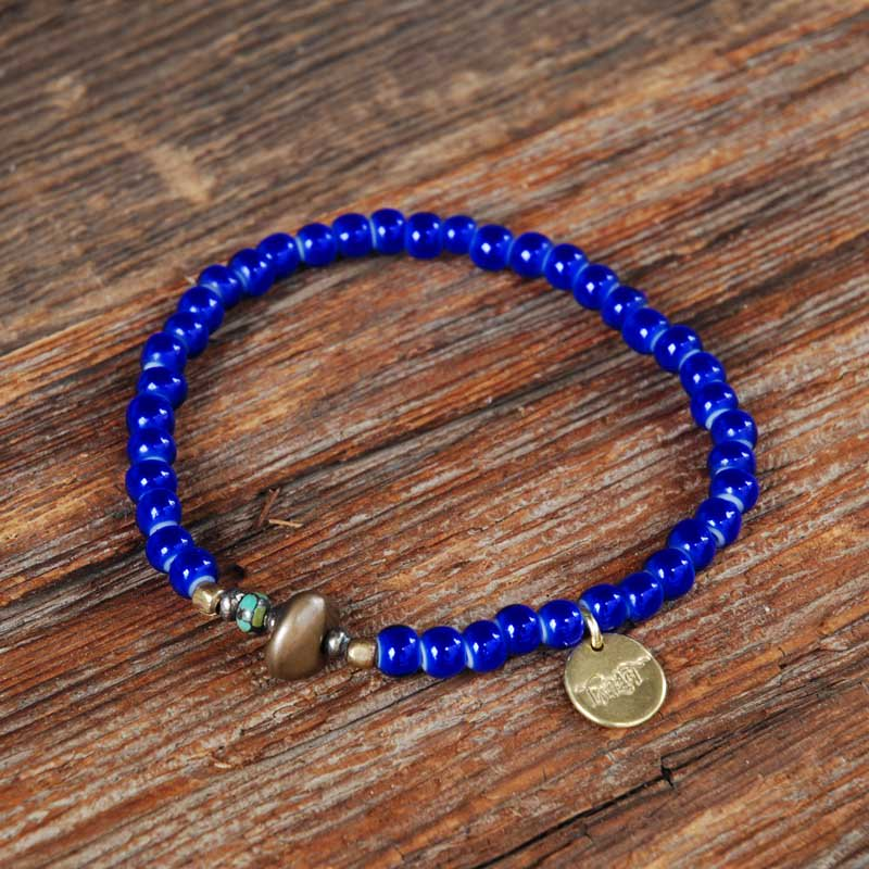 SunKu×EVILACT Antique Beads Bracelet / Navy