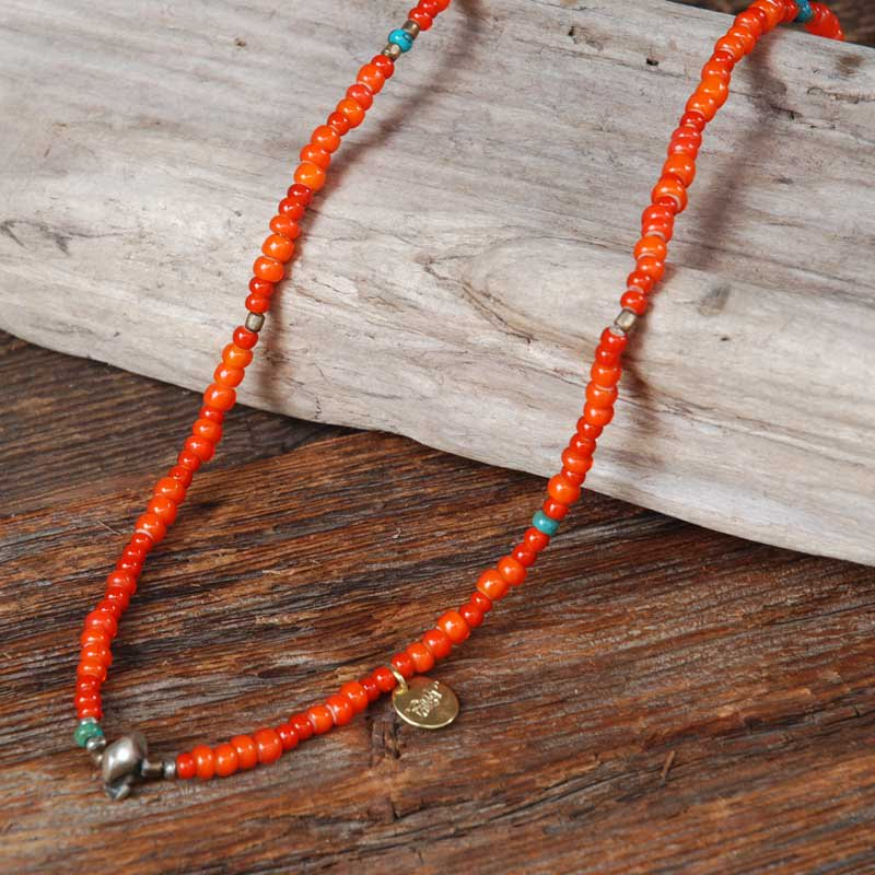 SunKu×EVILACT Antique Beads Necklace & Bracelet / Orange