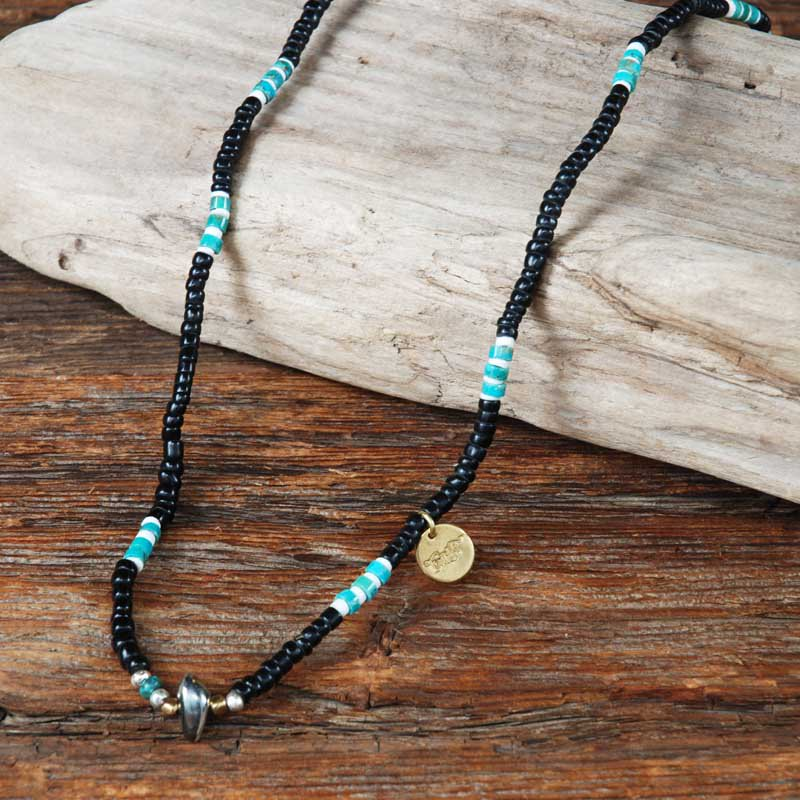 SunKu×EVILACT Antique Beads Necklace & Bracelet / Black×Turquoise
