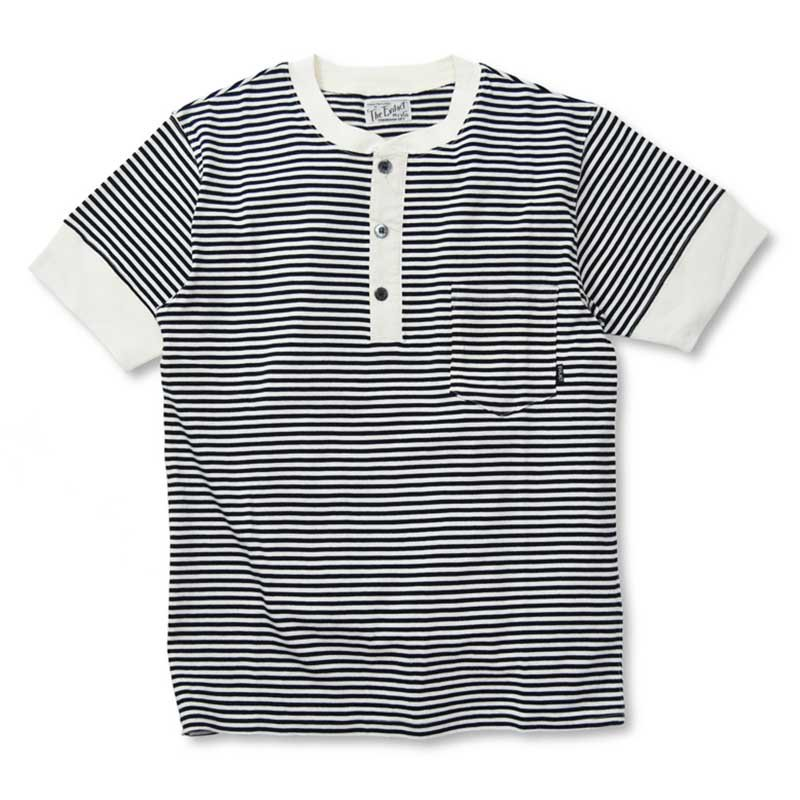 EVILACT Border henley neck shirts