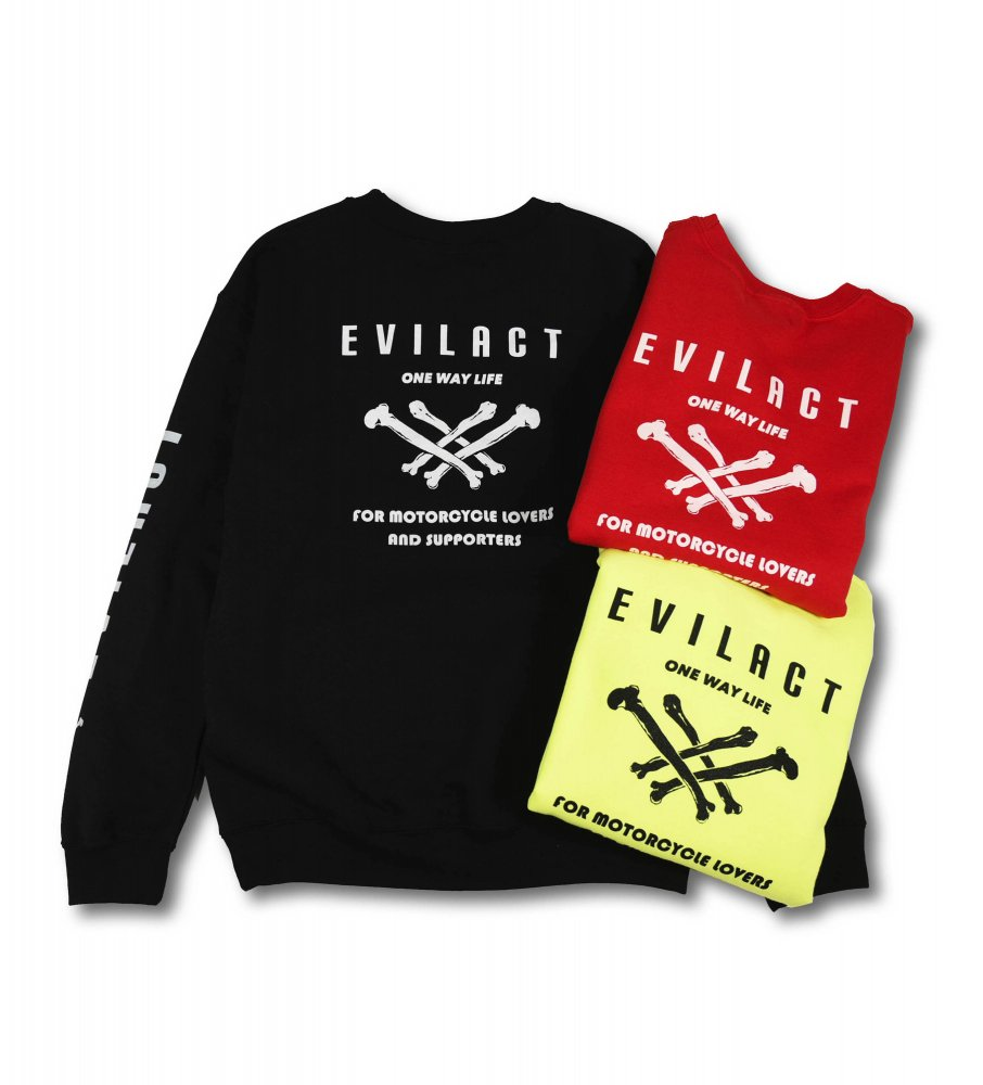 EVILACT Cross Bone <br>Crew Neck Sweatshirts <br>(EA18-SW06)
