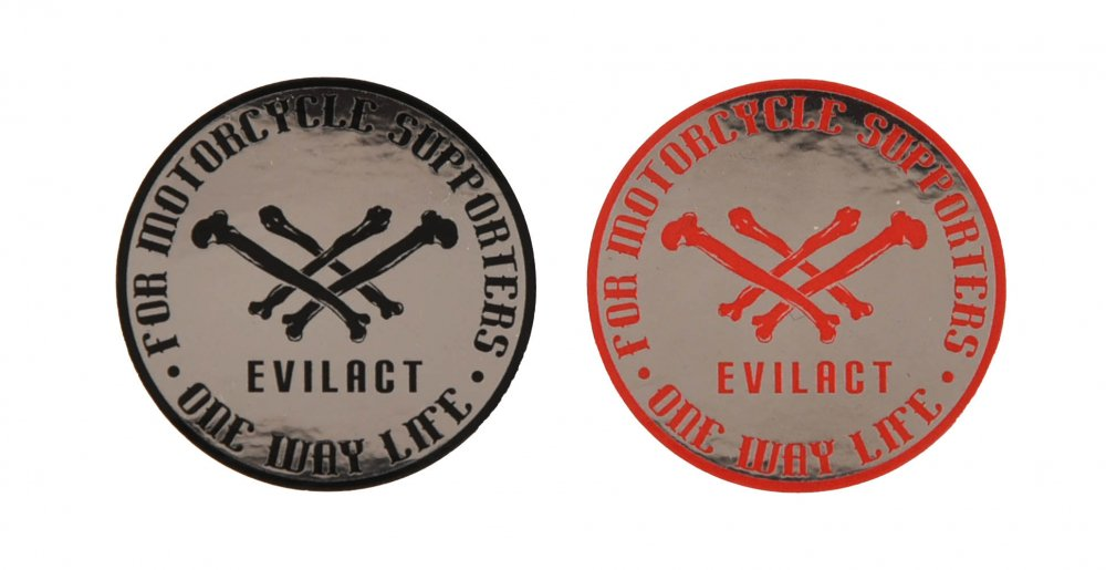 EVILACT Cross Bone Metallic Round Sticker