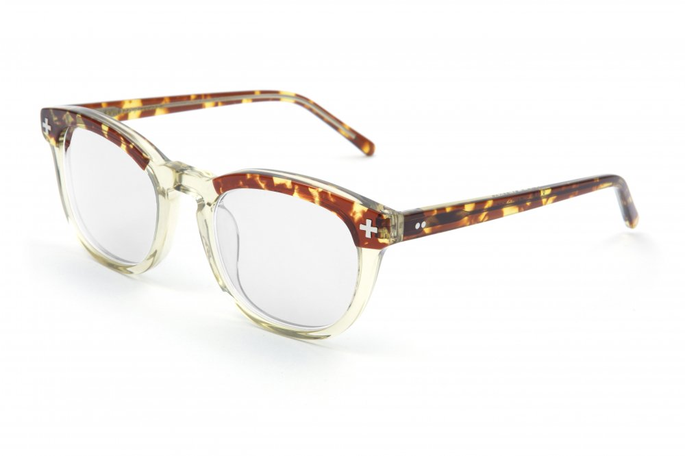 """YALE �"" tortoiseshell×vintage clear frame / dimming lens"