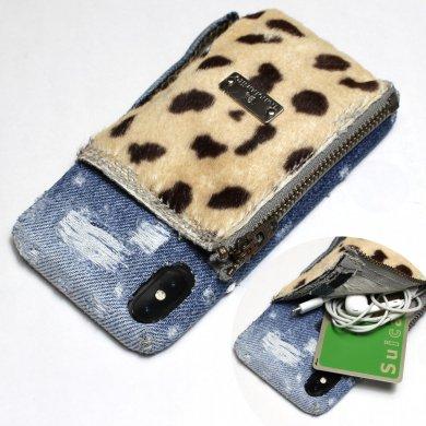 【限定6点】A-Cheetah,小物入れ付きチーター×デニムiPhoneケースip17012_cheetah