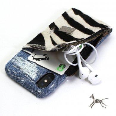Apollo-zebra,小物入れ付きゼブラ柄デニムiPhoneケースip18006
