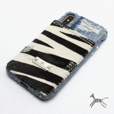 zebra,ゼブラ柄デニムiPhoneケースip18007