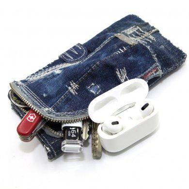 Leo,デニムiPhoneケース(ファスナーポケット付き)手帳型アレンジ