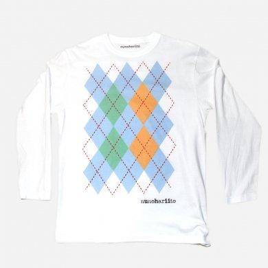春色とビタミンカラーのアーガイルTシャツ(長袖)