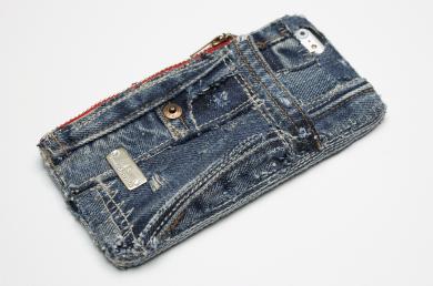 Apollo,デニムiPhoneケース(ファスナーポケット付き)ip14010