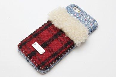 Virgo_6本革ムートン×タータンチェック×スワロフスキーiPhoneケースip15020