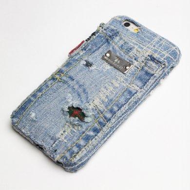 Gemini,クラッシュ・デニム×タータンチェックのiPhoneケース ip16004