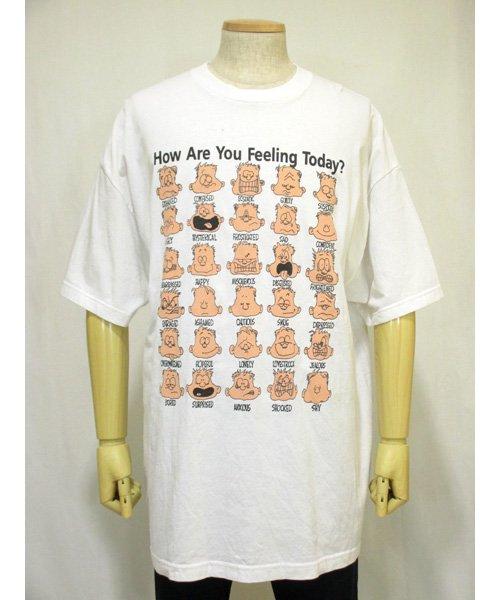 顔の表情デザイン白プリントTシャツ  2XLサイズ
