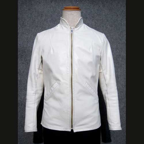 ef77428166f7 古着 70's SHIELDSレザーライダースジャケット 白シングル Sサイズ ...